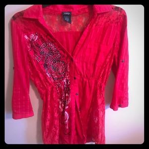 Vanity lace blouse red medium